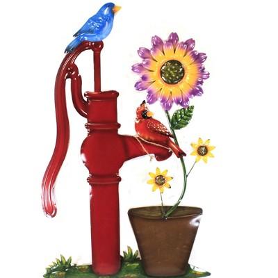"Home & Garden 38.0"" Red Water Pump W/ Flower Poke Yard Decor Stake Cardinal Direct Designs International  -  Decorative Garden Stakes"