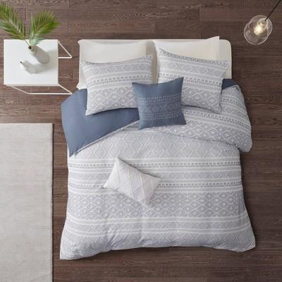 King/California King Emerson 5 PC Cotton Jacquard Comforter Set - White/Indigo