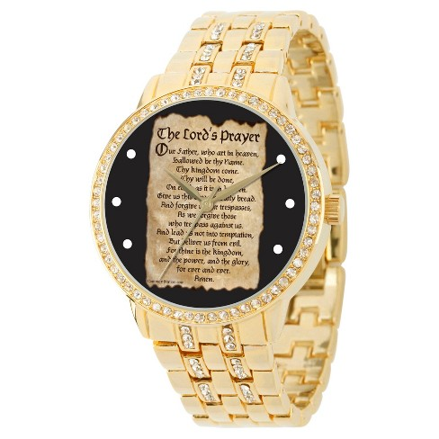 Men's eWatchfactory Lords Prayer Round Bracelet Watch - Gold - image 1 of 2