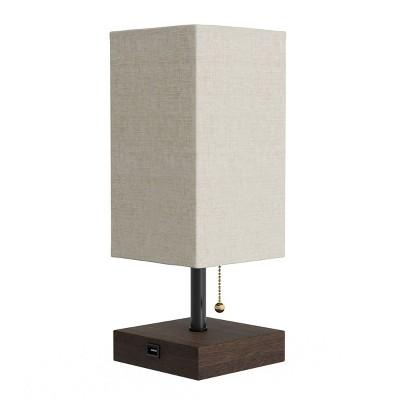 USB LED Rectangle Lamp with Wood Base
