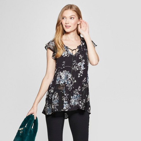 76d2128cb3d0b7 Women s Floral Print Short Sleeve Blouse - Knox Rose™ Black XXL   Target