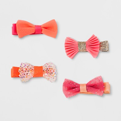 Toddler Girls' 4pk Bow Salon Hair Clips - Cat & Jack™ Pink/Orange