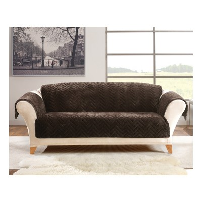 Delicieux Chocolate Quilted Faux Fur Sofa Furniture Cover   Sure Fit : Target