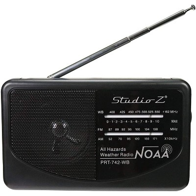 Studio Z PRT-742 Compact Portable High Sensitivity World Radio Speaker w/ Antenna, 3 Band High Sensitivity Receiver, and AM, FM, & WB Channels (Black)