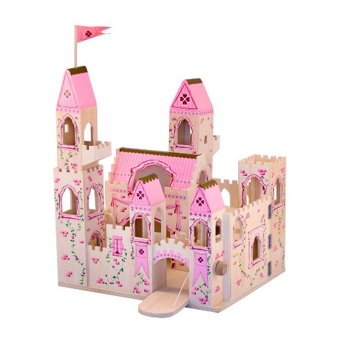 Melissa Doug Folding Princess Castle Wooden Dollhouse With Drawbridge And Turrets