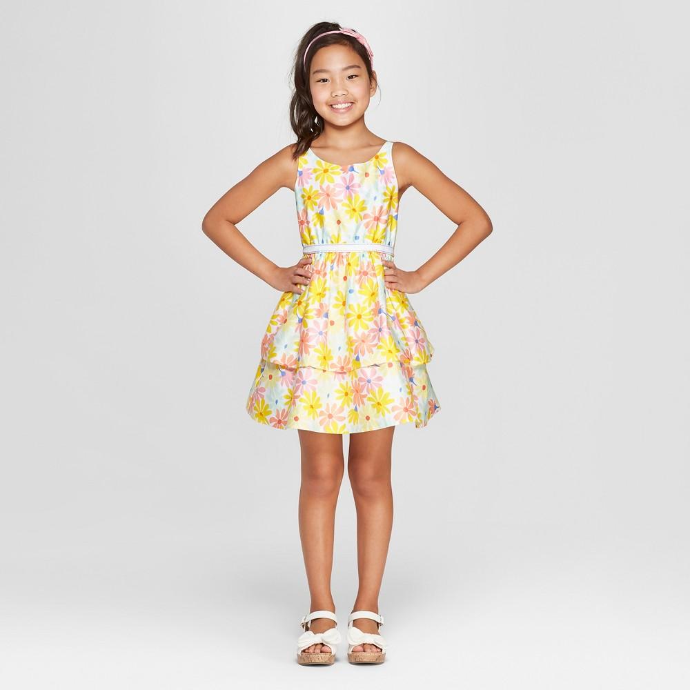 Girls' Floral Print Dressy Dress - Cat & Jack Yellow XL, Multicolored