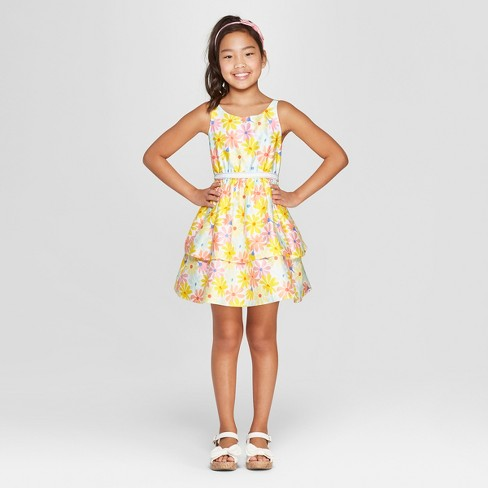 Girls' Floral Print Dressy Dress - Cat & Jack™ Yellow M Plus - image 1 of 3