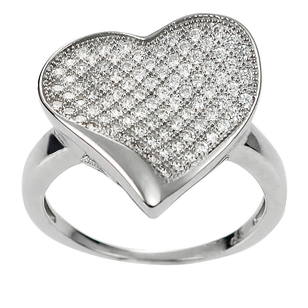 7/8 CT. T.W. Round-cut CZ Heart Accent Pave Set Ring in Sterling Silver - Silver, 9, Girl's