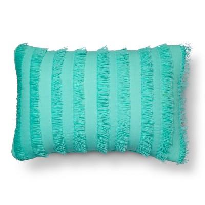Frayed Edge Throw Pillow (18 x12 )Green - Pillowfort™