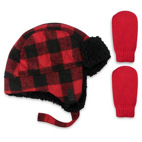 4e65de625ba Boys  Really Red Buffalo Plaid Trapper Hat and Mitten Set - Cat   Jack™