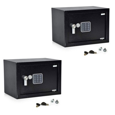 SereneLife Fireproof Security Safe Lock Box with Electronic Digital Combination Control Pad System and 2 Mechanical Manual Access Keys, Black (2 Pack)