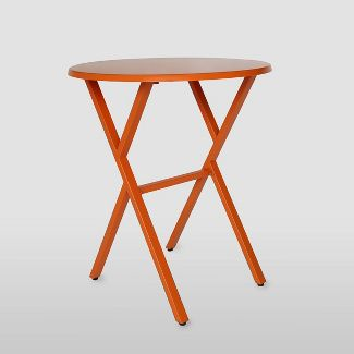 Taro Iron Patio Bistro Table Matte Orange - Christopher Knight Home