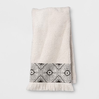 Black Medallion Border Hand Towel Beige - Opalhouse™