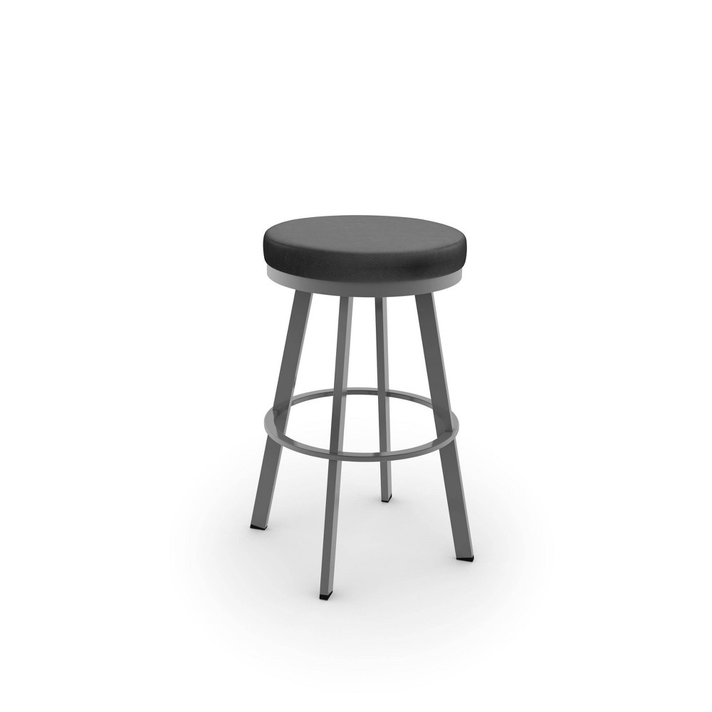 26 34 Swice Counter Height Barstool With Upholstered Seat Black Glossy Gray Metal Amisco