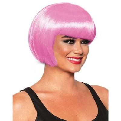 Underwraps Bob Cut One Size Adult Costume Wig | Bubble Gum Pink