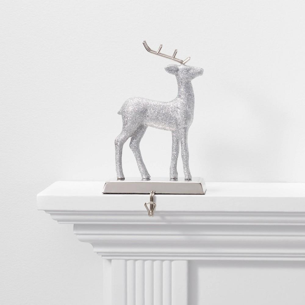 Image of 1ct Glitter Deer Stocking Holder Silver - Wondershop