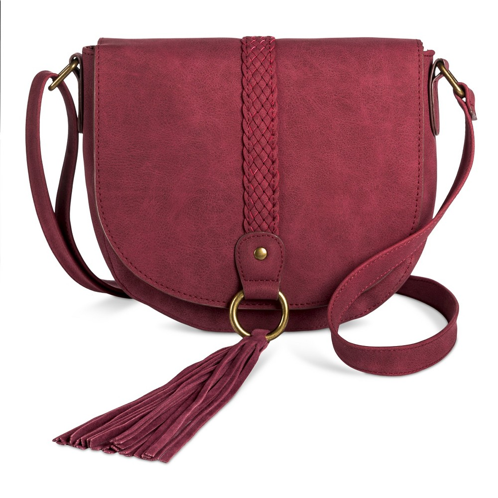 T-Shirt & Jeans Women's Saddle Handbag with Braiding and Tassels - Wine, Burgandian Wine