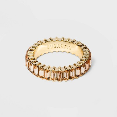 SUGARFIX by BaubleBar Baguette Crystal Statement Ring - Fresh Cream
