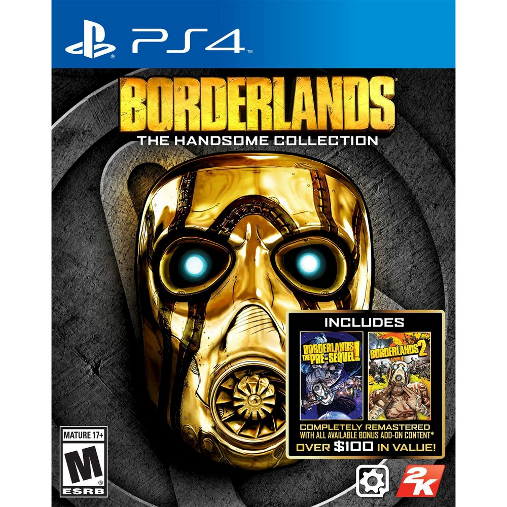 Borderlands: The Handsome Collection Pre-Owned PlayStation 4 Double the fun with Handsome Jack with Borderlands: the Handsome Collection Pre-Owned (PlayStation 4) - Take Two Interactive. The epic video game includes 2 games including Borderlands: The Pre-Sequel and Borderlands 2. The game works for PlayStation 4 consoles. The pre-owned video game is in like-new condition and is recommended for ages 17 and older.