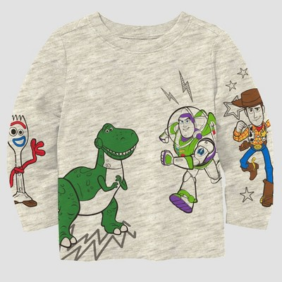 Toddler Boys' Toy Story Long Sleeve Graphic T-Shirt - Gray 2T