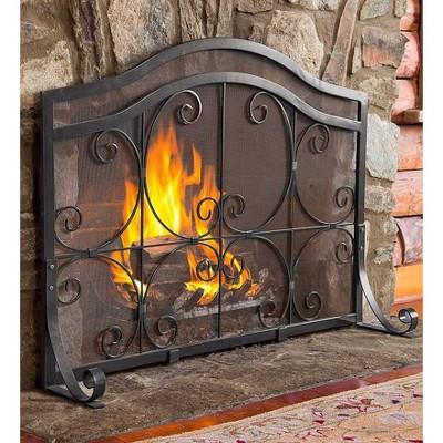 Plow & Hearth - Large Crest Flat Guard Fireplace Fire Screen