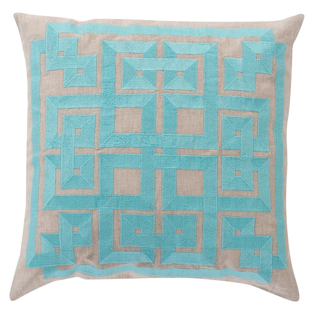 Aqua (Blue) Chieti Greek Throw Pillow 18