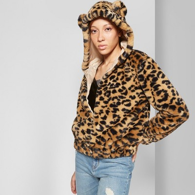 Women's Fuzzy Animal Print Faux Fur Zip Up Jacket With Animal Ears   Wild Fable™ by Wild Fable