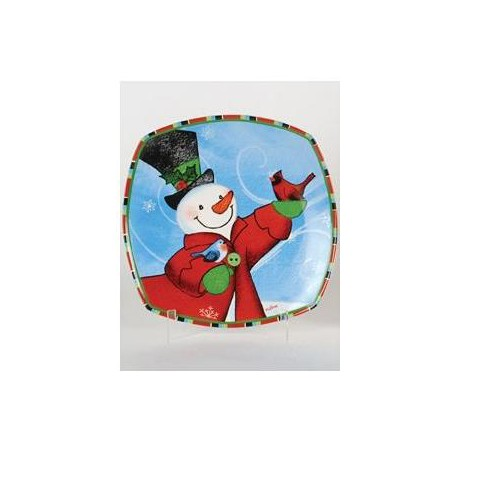 """Lynn Roberts 12"""" Red and Blue Snowman and Red Cardinals Square Porcelain Christmas Dining Plate - image 1 of 1"""