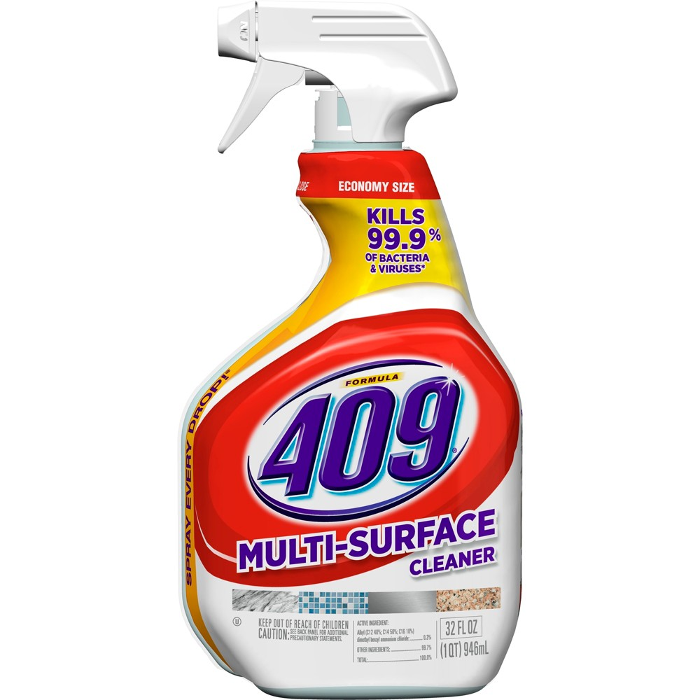 Formula 409 Powerful All Purpose Cleaner Spray Bottle 32 oz Formula 409 Multi-Surface Cleaner, is the ultimate cleaner, degreaser and disinfectant for your home. The antibacterial formula quickly cuts through grease and grime and disinfects as you wipe, killing over 99 percent of germs. It prevents mold and mildew growth and deodorizes as you clean your kitchen and bathroom surfaces, leaving behind a fresh clean scent. This no bleach, non abrasive, all purpose spray cleaner now cleans 40 percent more per spray, based on lab testing vs. previous offering, and with this bottle's Smart Tube technology you are guaranteed to spray every last drop. This household cleaner works great both indoors and outdoors on a wide range of hard nonporous surfaces including stovetops, sinks, countertops, microwave exteriors and more. Usage Directions: Spray 6 to 8 inches from surface. General Cleaning: Spray product straight onto soils, and wipe clean with a dry paper towel or lint-free cloth. Repeat for heavily soiled areas. Refill only with this product. To Spray Every Drop: Tilt bottle at a downward angle while spraying. TO Disinfect: Spray until thoroughly wet. Let stand 10 minutes. Then wipe. All surfaces that come in contact with food must be rinsed with potable water. TO Sanitize Non-Food-Contact Surfaces AND Deodorize: Spray until thoroughly wet. Let stand 30 seconds, then wipe. Caution Statements: Causes moderate eye irritation. Avoid contact with eyes, skin or clothing. Wash thoroughly with soap and water after handling. Avoid contact with foods. Contains no phosphorus. Not harmful to septic systems.