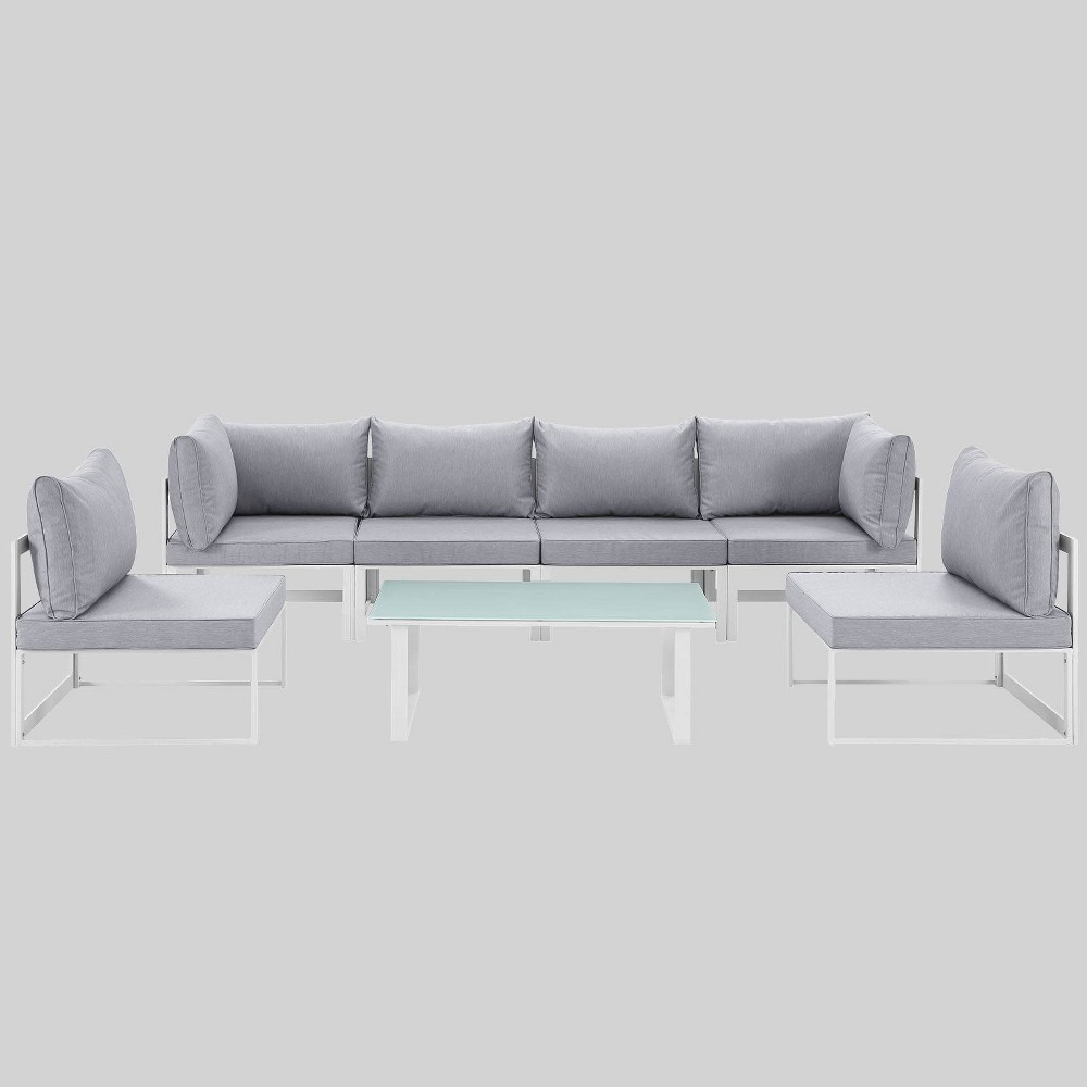 Fortuna 7pc Outdoor Patio Sectional Sofa Set - Gray - Modway