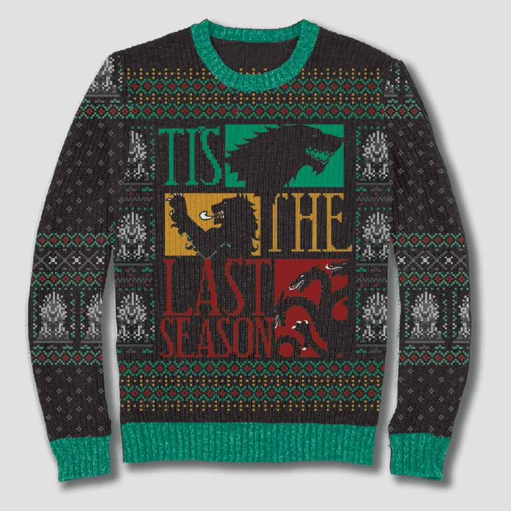 Men's Big & Tall Game of Thrones Tis Last Season Pullover Sweater - Black 4XBT