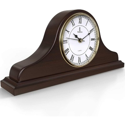 Lovely Home Essentials - Solid Wood Brown Mantel Clock 15 X 7.5 Inch Silent Battery Operated For Fireplace Office Desk Table Shelf & Home Décor