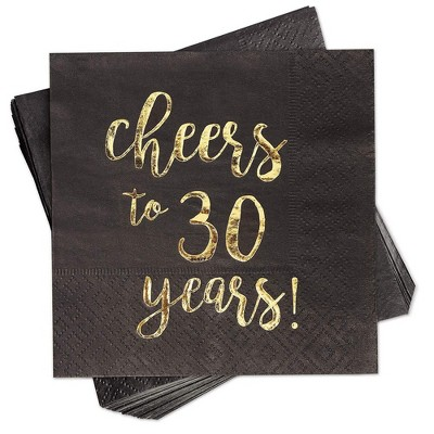 """Blue Panda 50-Pack Cheers to 30 Years Gold Foil Disposable Paper Napkins 5"""" Birthday Anniversary Party Supplies"""