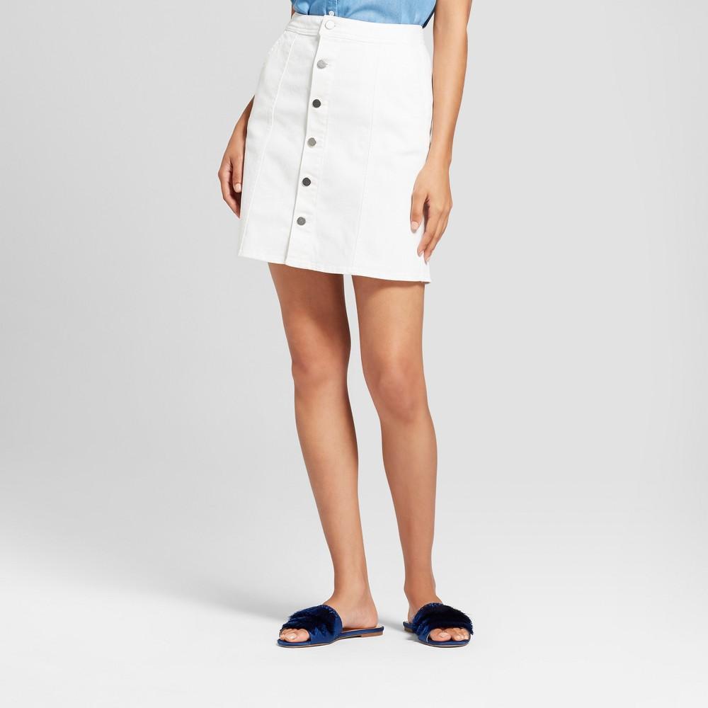 Women's Button Front Denim Mini Skirt - A New Day White 2
