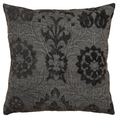 """20""""x20"""" Oversize Floral Print Square Throw Pillow Gray - Rizzy Home"""