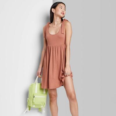 Women's Sleeveless Tie-Strap Babydoll Textured Knit Dress - Wild Fable™