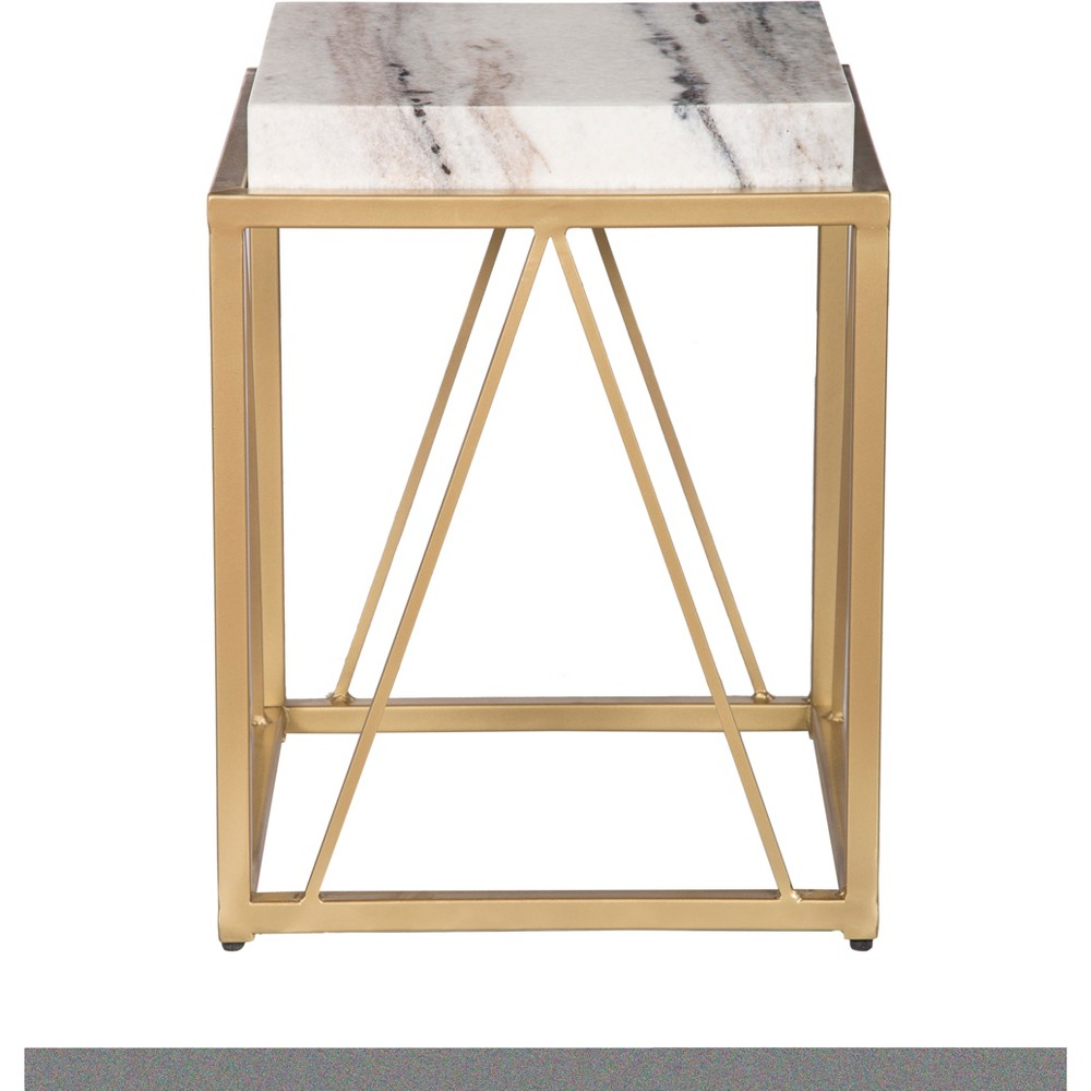 Architectural Marble And Iron Accent Table White/Gold - Treasure Trove