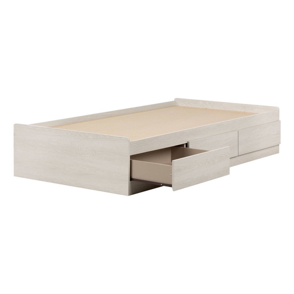 Twin Fynn Mates Bed with 3 Drawers Winter Oak - South Shore
