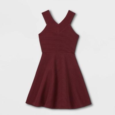 Zenzi Girls' V-Neck Ottoman Dress - Burgundy