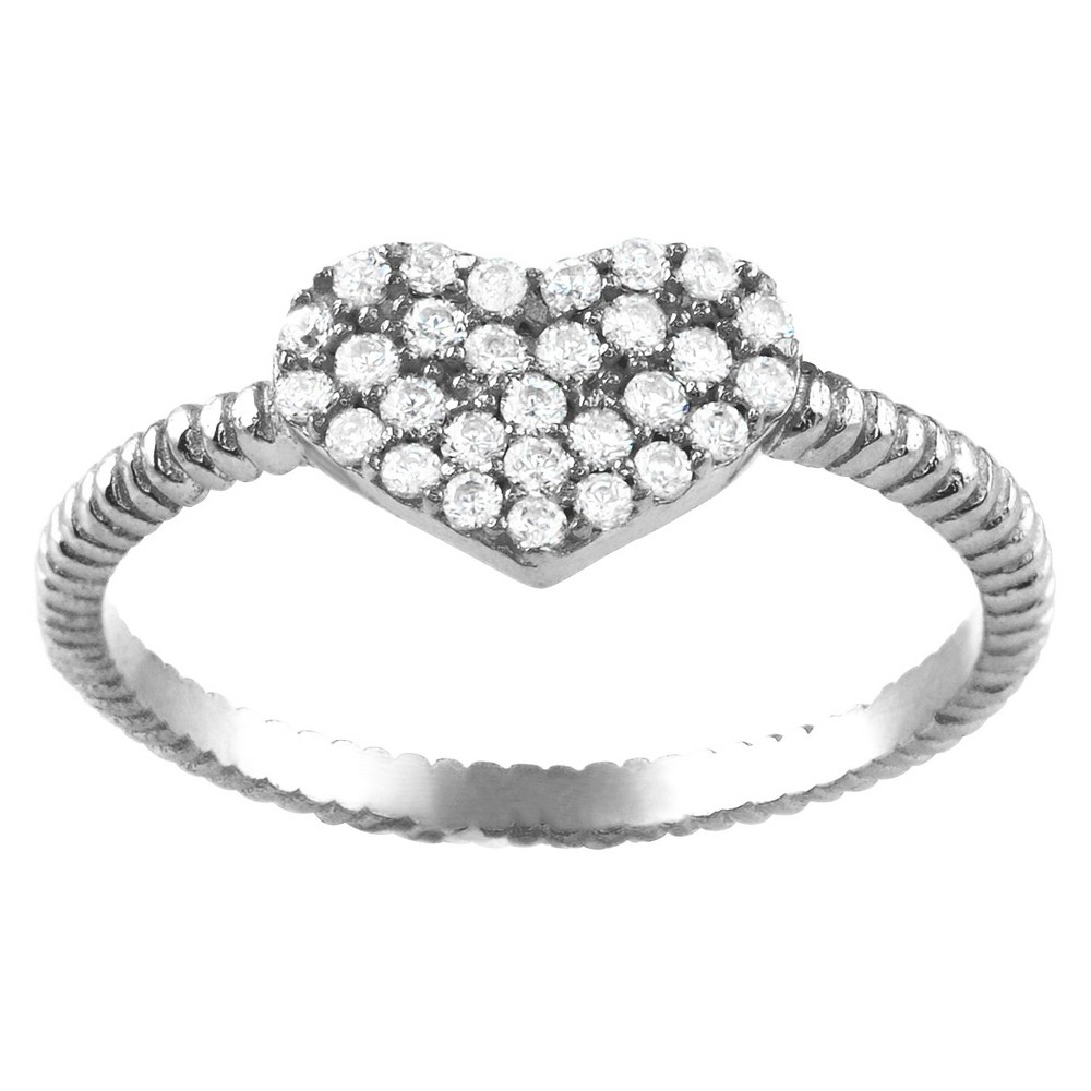 1/4 CT. T.W. Round-cut CZ Heart Accent Pave Set Ring in Sterling Silver - Silver, 6, Girl's