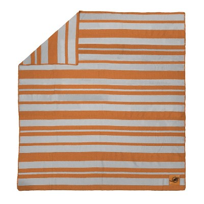 NFL Miami Dolphins Acrylic Stripe Blanket with Faux Leather Logo Patch