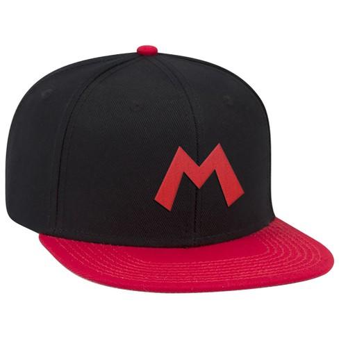 Super Mario: Red M Brimmed Hat - Black/Red - image 1 of 1