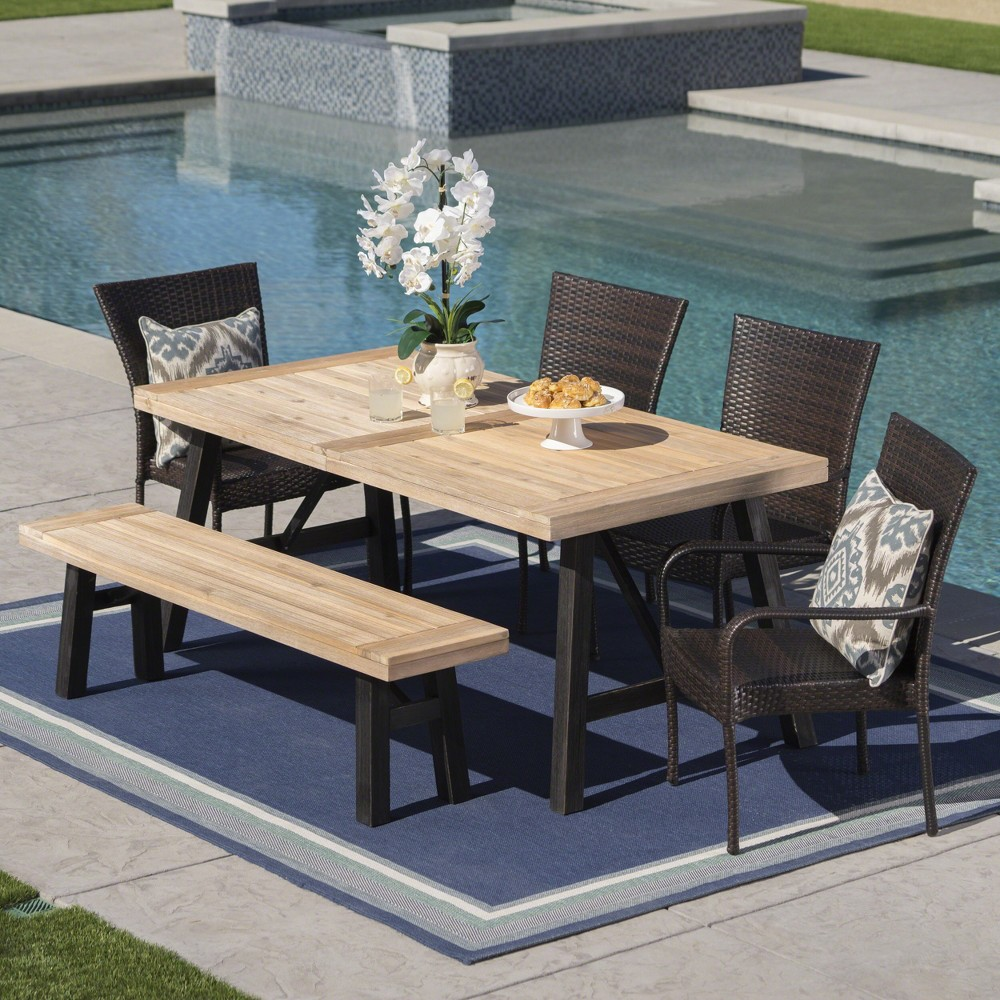 Philippa 6pc Acacia & Wicker Dining Set - Gray/Brown - Christopher Knight Home