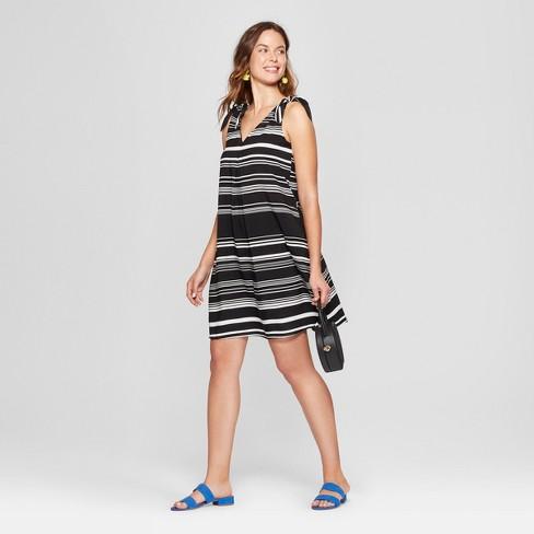 9056e7181c441 Women s Striped Tie Shoulder Swing Dress - Spenser Jeremy - Black White