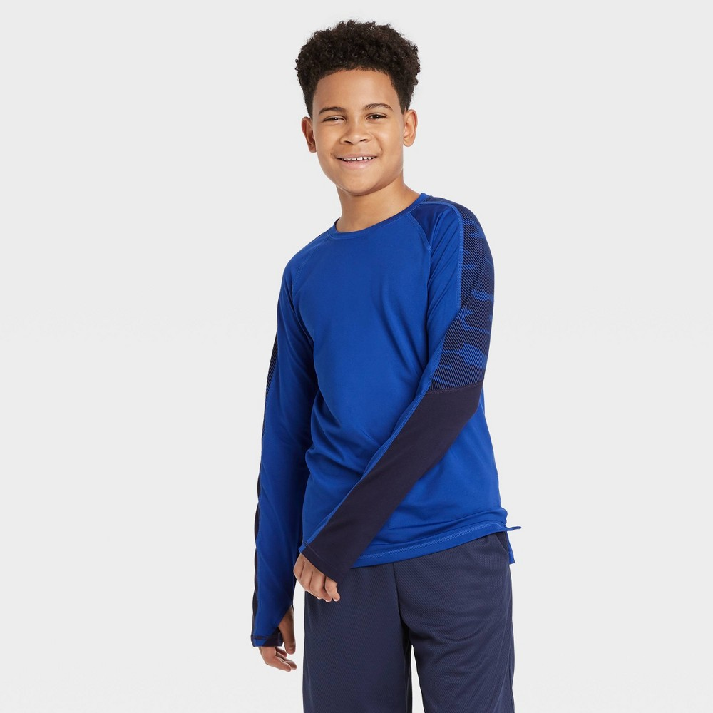 Image of Boys' Long Sleeve Colorblock Soft Gym T-Shirt - All in Motion Blue L, Boy's, Size: Large