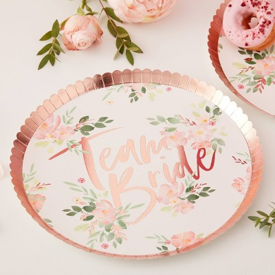 Team Bride  Floral Plate - Ginger Ray