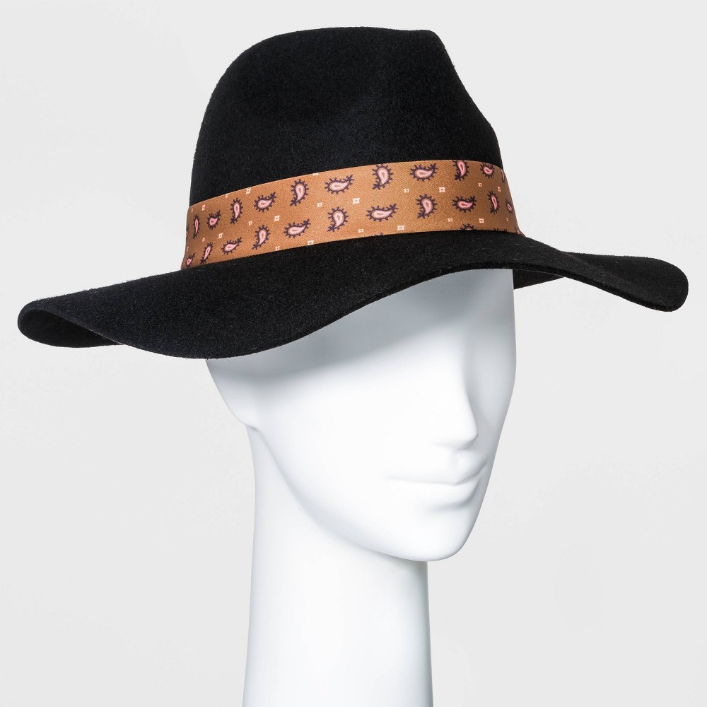 Hippie Hats,  70s Hats Womens Wide Brim Fedora Hat with Scarf Band - A New Day Black $24.00 AT vintagedancer.com