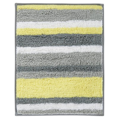 InterDesign Microfiber Square Stripz Rug - Gray/Yellow, 21  x 17