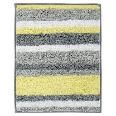 Interdesign Microfiber Square Stripz Rug Gray Yellow 21