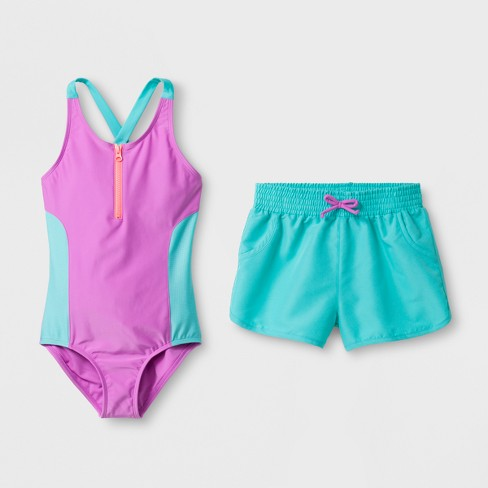 9e2aaa1df7 Girls  Colorblock One Piece Swimsuit Set with Shorts - Cat   Jack™ Purple